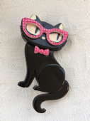 Erstwilder Elissa Indie Cat Brooch - Limited Edition Black Cat wears Spectacles Pin (sold)